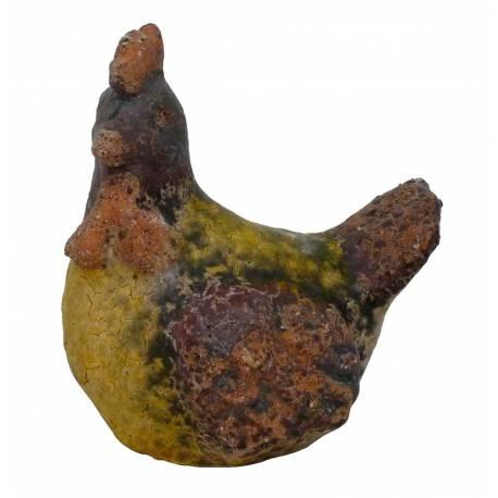 Coq de Jardin ou Statuette de Volaille Décorative en Terre Cuite Emaillée Jaune 16x21x23cm