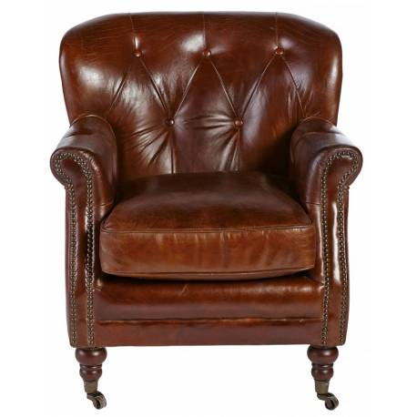 Fauteuil Newcastle Signature Siège de Salon Vintage Assise en Cuir Couleur Chocolat 68x69x77cm