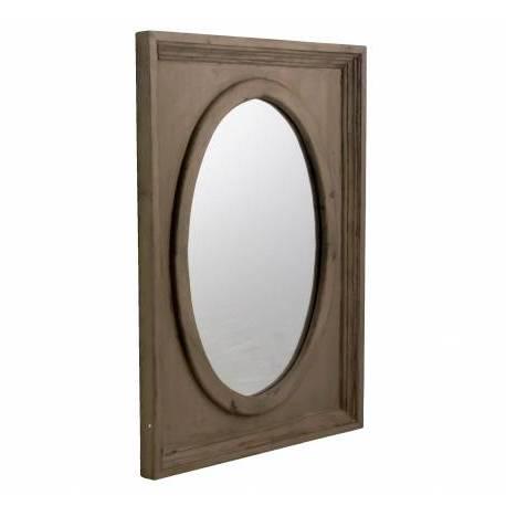 Miroir Mural Glace Ovale Trumeau Style Ancien Cadre avec Moulure en Bois Marron 3,5x54,5x72,5cm