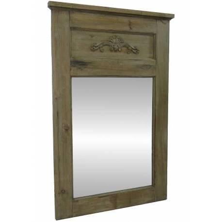Grand Miroir de Style Trumeau en Bois avec Frise Glace de Cheminée 4x65x100cm