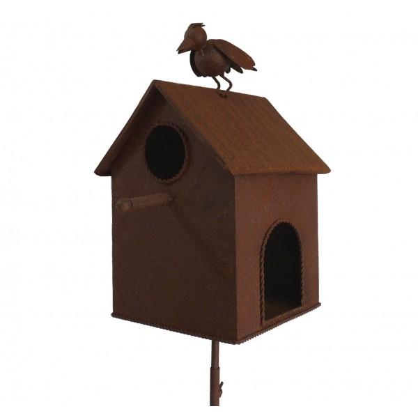 Nichoir à Oiseaux sur Pic ou Cabane à Oisillons en Fer Patiné Rouillé 23x29x163cm