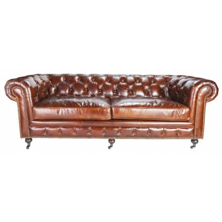 Canapé Chesterfield 3 Places Chocolat Signature Sofa Vintage Assise de Salon en Cuir Couleur Chocolat 77x96x223cm