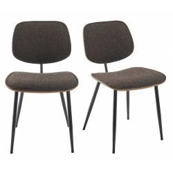 Lot de 2 Chaises Olympia Signature Assises de Table Sièges en Noyer Couleur Naturelle, Métal Noir et Tissu Gris 45x46x77cm