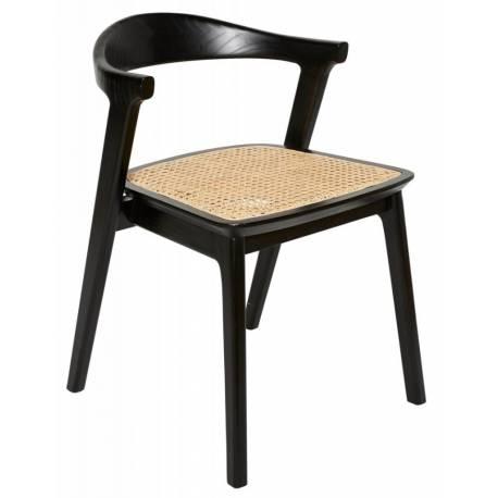Chaise Cannée Ingrid Signature Assise de Table Tendance Siège en Teck Noir et Cannage en Rotin Naturel 50x58x72cm