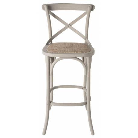 Chaise de Bar Bistrot Signature Assise de Comptoir Siège de Bar en Chêne Couleur Oxydée et Paille de Riz 50x51x96cm