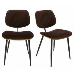 Lot de 2 Chaises Olympia Signature Assises de Table Sièges en Noyer Couleur Naturelle, Métal Noir et Velours Marron 45x46x77cm
