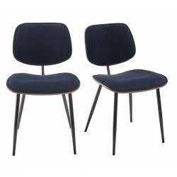 Lot de 2 Chaises Olympia Signature Assises de Table Sièges en Noyer Couleur Naturelle, Métal Noir et Velours Bleu 45x46x77cm