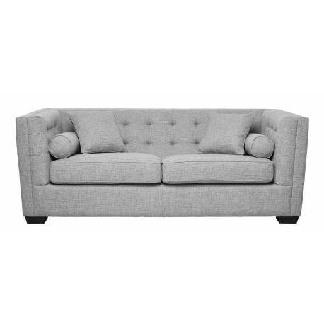 Canapé Roma 3 Places Signature Sofa Design Assise de Salon en Tissu Tramé Gris 76x94x206cm