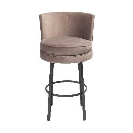 Chaise de Bar Pivotante Natacha Signature Assise de Comptoir Siège de Bar en Métal Noir et Velours Grège 55x58x89cm