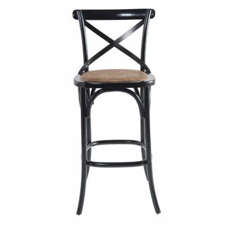 Chaise de Bar Bistrot Signature Assise de Comptoir Siège de Bar en Chêne Noir et Paille de Riz 50x51x96cm