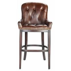 Chaise de Bar Signature Assise de Comptoir Siège de Bar en Cuir Pleine Fleur Chocolat et Bois 52x58x121cm
