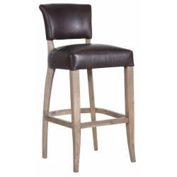 Chaise de Bar Chelsea Signature Assise de Comptoir Siège de Bar en Cuir Pleine Fleur Chocolat et Chêne 48x54x106cm