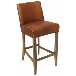 Chaise de Bar Emma Signature Assise de Comptoir Siège de Bar en Cuir et Chêne Marron 49x59x105cm