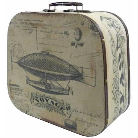 grande valise malle bagage coffre boite rangement poign e cuir tapiss en bois et tissu. Black Bedroom Furniture Sets. Home Design Ideas