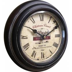 Horloge Murale en Métal avec Vitre en Plexiglass Pendule Château Canet Noir 4x21x21cm