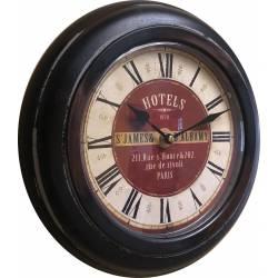 Horloge Murale en Métal avec Vitre en Plexiglass Pendule de Cuisine Hotels St James Marron 4x32x32cm