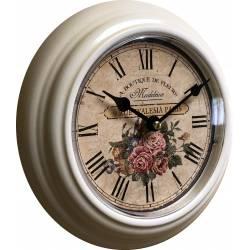 Horloge Murale en Métal avec Vitre en Plexiglass Pendule La Boutique de Fleurs Madeleine 4x21x21cm