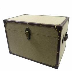 Coffre de Rangement Malle à Jouets Style Ancienne Valise en Bois et Tissu ou Mini Bar 23x26x36cm