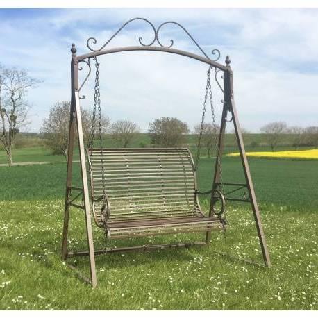 Grande Balancelle de Charme Balançoire pour Adultes et Enfants 2-3 Places Mobilier de Jardin en Fer 108x165x240cm