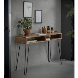 Console Quadro Hinsk Bureau d'Appoint Industriel Sellette Salon en Acacia et Fer 35x76x115cm