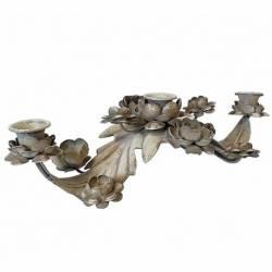 Bougeoir sur Pied 3 Feux à Poser ou Chandelier de Table 3 Branches en Fer Patiné Blanc 9x15x33cm