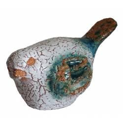 Oiseau de Jardin ou Statuette de Volatile en Terre Cuite Emaillée Blanche 10,5x12,5x16cm
