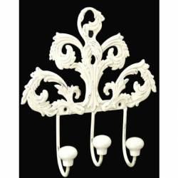Patère Triple Motifs Feuilles ou Porte Serviettes 3 Crochets en Fer et Porcelaine Patiné Blanc 4x16,5x17,5cm