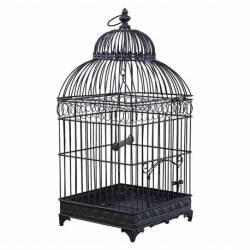 Grande Cage à Oiseaux de Jardin Intérieur Extérieur Carrée en Fer Patiné Marron 25,5x25,5x60cm