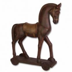 Sculpture Cheval sur Chariot Décoratif en Résine Patiné à l'Ancienne 15x43,5x54cm