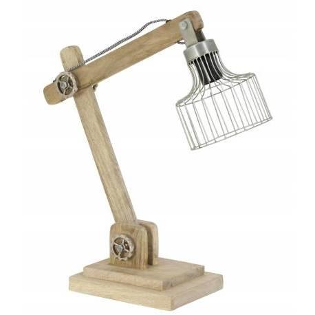 Lampe EBKE Electrique de Bureau à Poser Luminaire de Table Vintage avec Abat Jour en Bois et Métal Couleur Zinc 15x45x50cm
