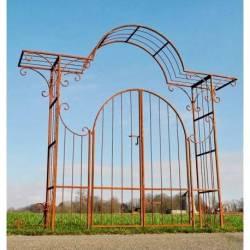 Sublime Portail Chantilly Porte Arche de Jardin Séparation Entrée en Acier Oxydé 50x255x284cm