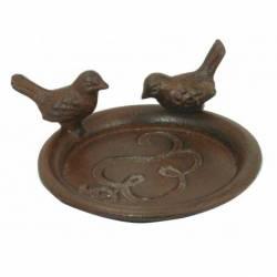 Coupelle Style Bain d'Oiseau ou Mangeoire Porte Savon Vide Poche Forme Ronde avec 2 Oiseaux en Fonte Patinée Marron 5x12,5cm