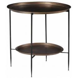 Sellette Monda Athezza Sellette Design Bout de Canapé en Métal Noir et Bronze 59,5x59,5x60cm
