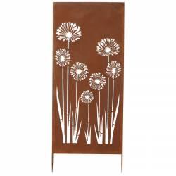 Treillis Pluma Grande Grille Décorative Motifs Floraux en Métal Marron 75x180cm