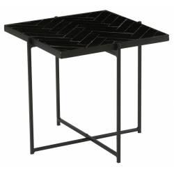 Table Basse Pliante Avaro Athezza Table d'Appoint Console en Métal et Céramique Noir 45x45x45cm