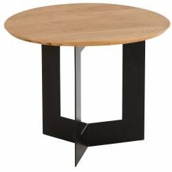 Table Basse Nina Athezza Table d'Appoint Console en Métal Noir et Pin Naturel 43,5x60x60cm