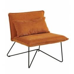 Fauteuil Trinita Orange Marque Hanjel Siège Bas de Salon en Tissu et Métal Noir 66x71,5x78cm