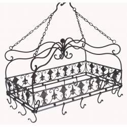 Porte Ustensiles de Cuisine 14 Crochets Rectangulaire ou Ratelier Porte Jambons à Suspendre en Fer Patiné Marron 39x40x64cm