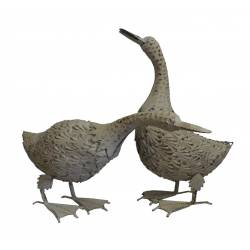 Couple Animaux Harmonieux ou Duo Cane et Canard en Fer Patiné Blanc 15x31x49,5cm