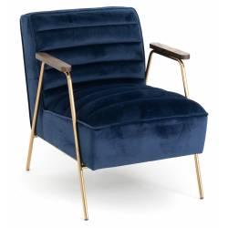 Fauteuil Hutch Amadeus Assise Siège de Salon en Bois Métal et Velours Bleu Nuit 60x73x76cm