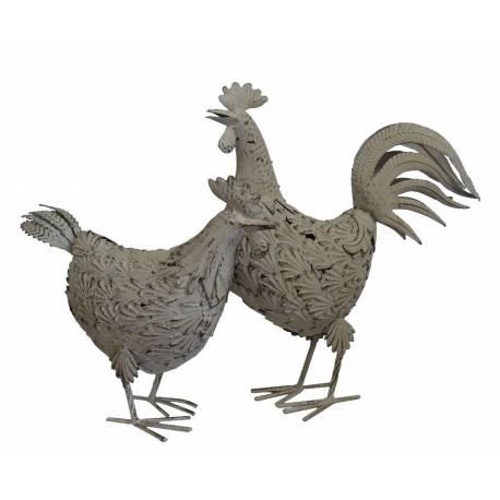 Duo de Couple Majestueux Poule et Coq en Fer Patiné Blanc 11x39,5x45,5cm