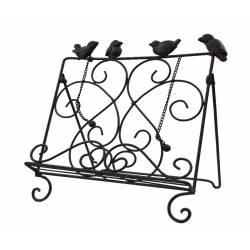 Lutrin de Cuisine Chevalet de Charme Pupitre de Lecture Motif Oiseaux en Fer Patiné Marron 25,5x30,5x33cm