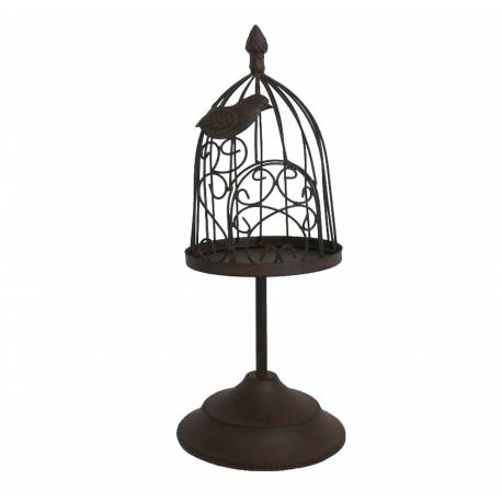 Photophore Bougeoir Style Cage à Oiseaux ou Porte Bougie Unique en Fer Patiné Marron 15,5x15,5x39,5cm