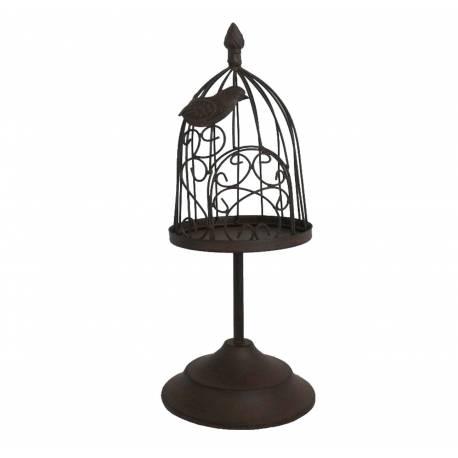 Photophore Bougeoir Style Cage à Oiseaux ou Porte Bougie Unique en Fer Patiné Marron 15,5x15,5x39,5cm