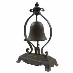 Clochette de Comptoir ou Présentoir à Cloche Carillon à Poser en Fonte Patinée Marron 8,5x17x26,5cm