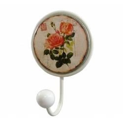 Patère Blanche Unique Porte Serviettes Murale ou Porte Torchons Motif Fleurs en Fer et Porcelaine 6,5x11x17cm