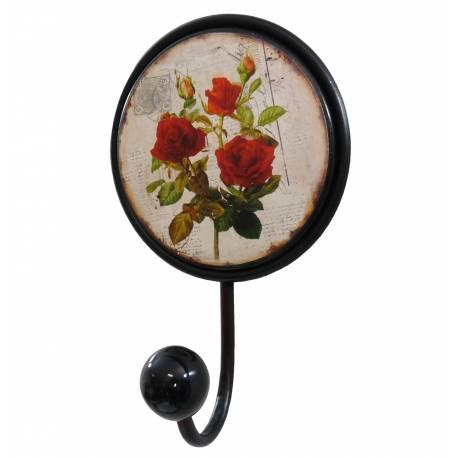 Patère Unique Porte Serviettes Murale ou Porte Torchons Motif Fleurs en Fer Noir et Porcelaine 6,5x11x17cm