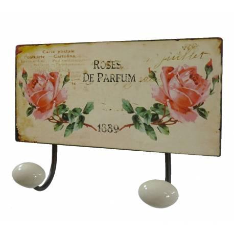 Porte Manteaux Double Crochets Porcelaine Mural avec Plaque Décorative Motif Roses en Fer Patiné Marron 7x17x23cm