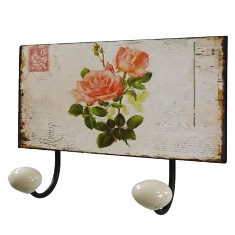 Porte Manteaux Double Crochets Porcelaine Mural avec Plaque Décorative Motif Fleurs en Fer Patiné Marron 7x12x17cm