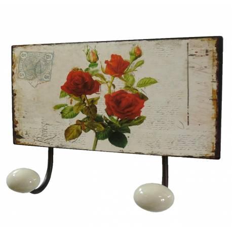 Porte Manteaux Double Crochets Porcelaine Mural avec Plaque Décorative Motif Roses en Fer Patiné Marron 7x12x17cm